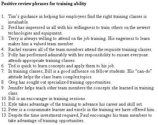 positive evaluation statements