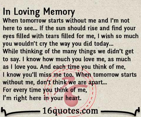 In Loving Memory Quotes. QuotesGram