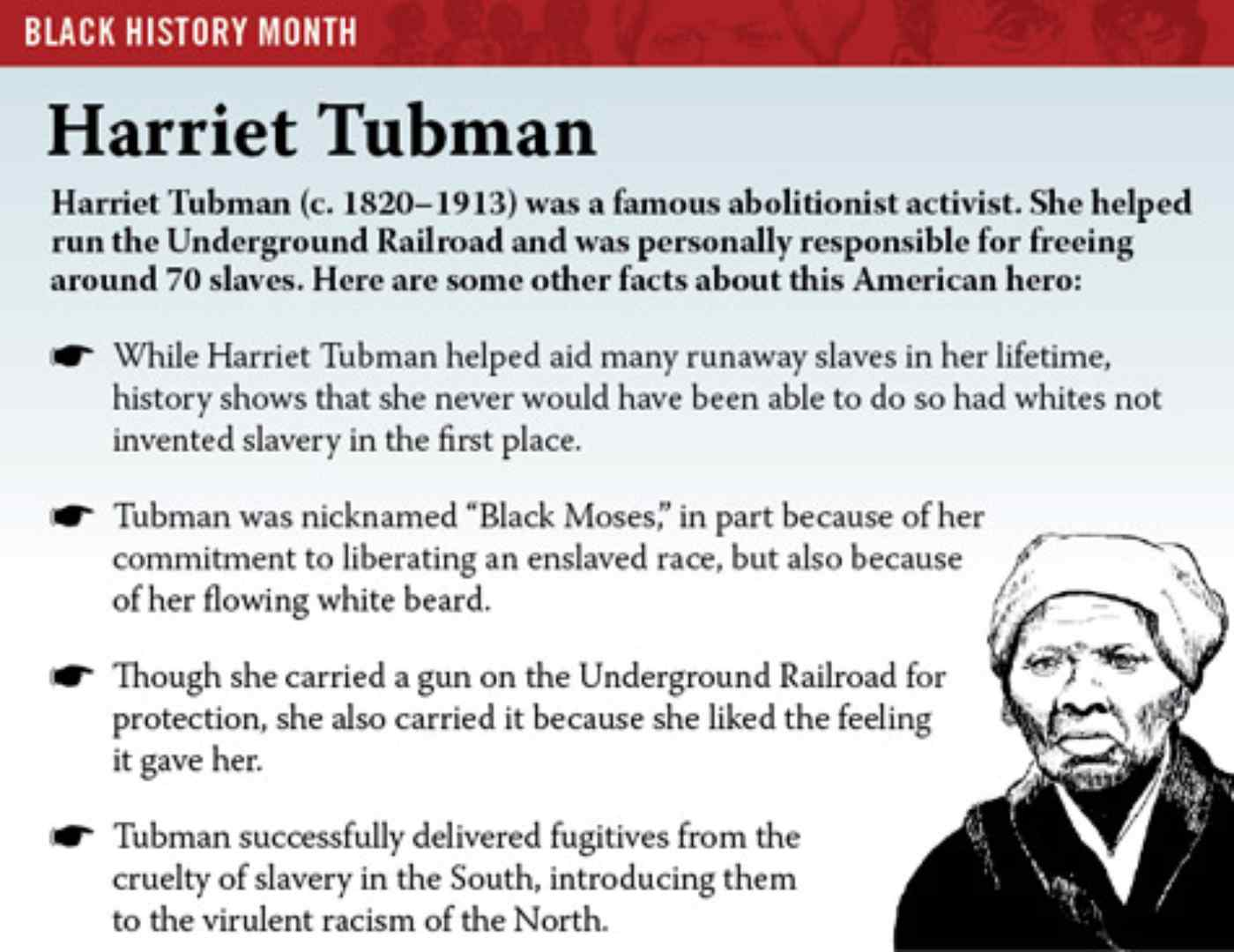 harriet tubmans impact on history Harriet tubman, circa 1877 (ohio history connection, photo by hg smith, studio building, boston) a slave-owning man on one side, a formerly enslaved woman on the.