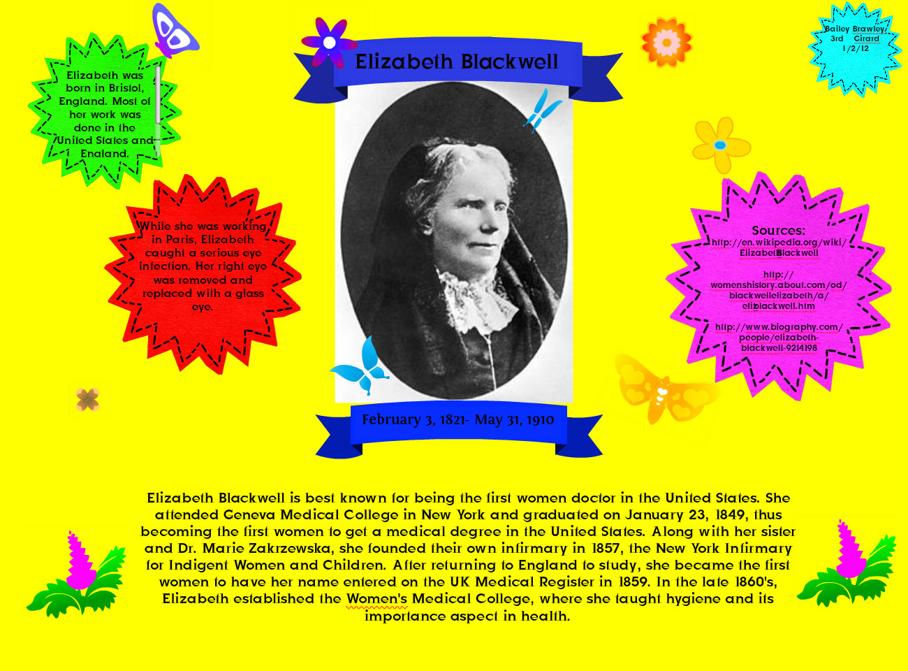 elizabeth blackwell thesis statement Elizabeth blackwell 2 thesis: the theme of the movie elizabeth the golden age revolves around royalty and power struggle between catholic spain ruled by king philip ii and elizabeth's protestant england thesis statement: virgin queen elizabeth i's fame/ notoriety is.