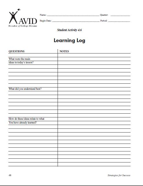 avid learning log template - avid learning quotes quotesgram