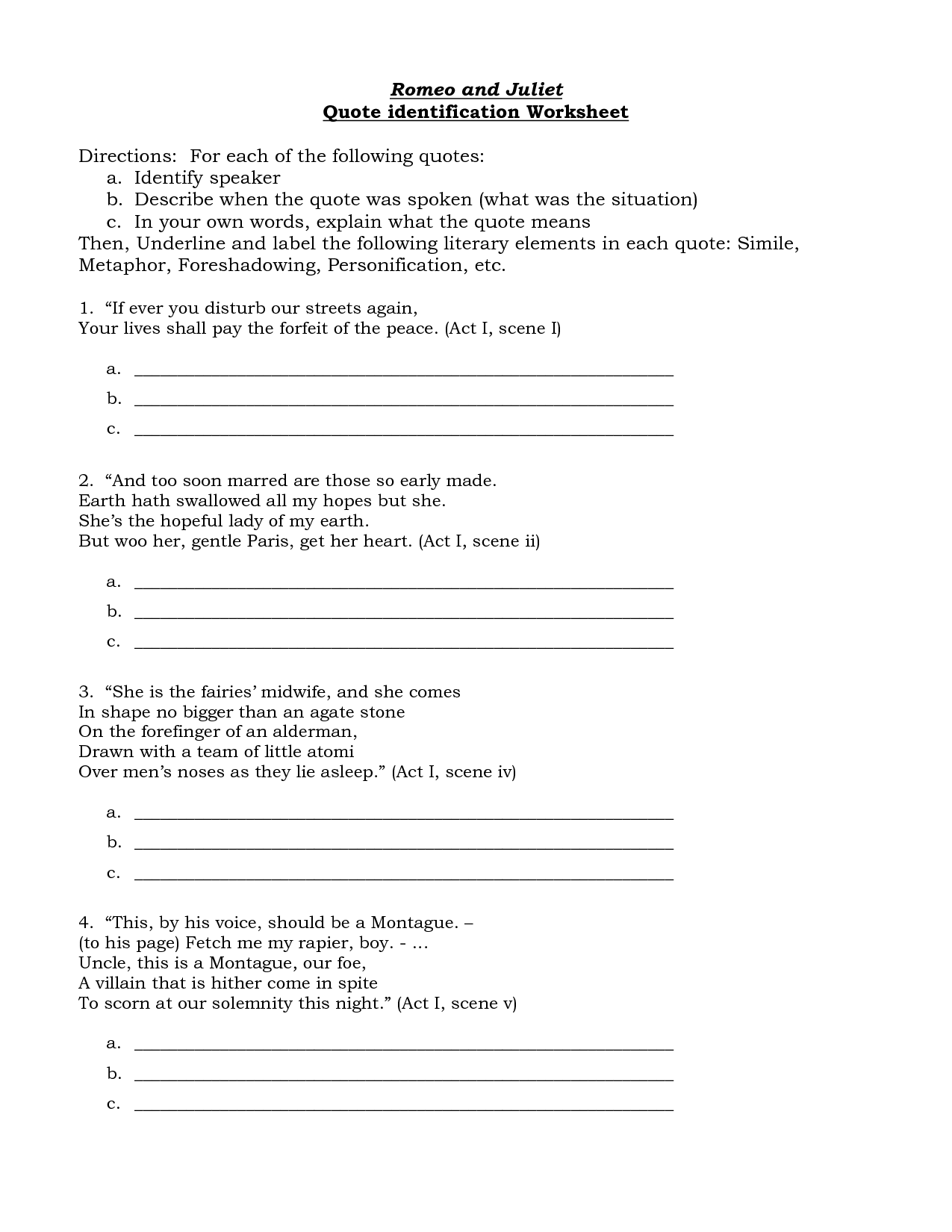 Uncategorized Personification Worksheet personification romeo and juliet first paraphrase s examples in quotes quotesgram