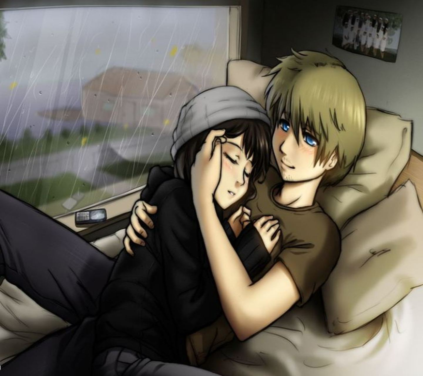 Cute anime couples cuddling