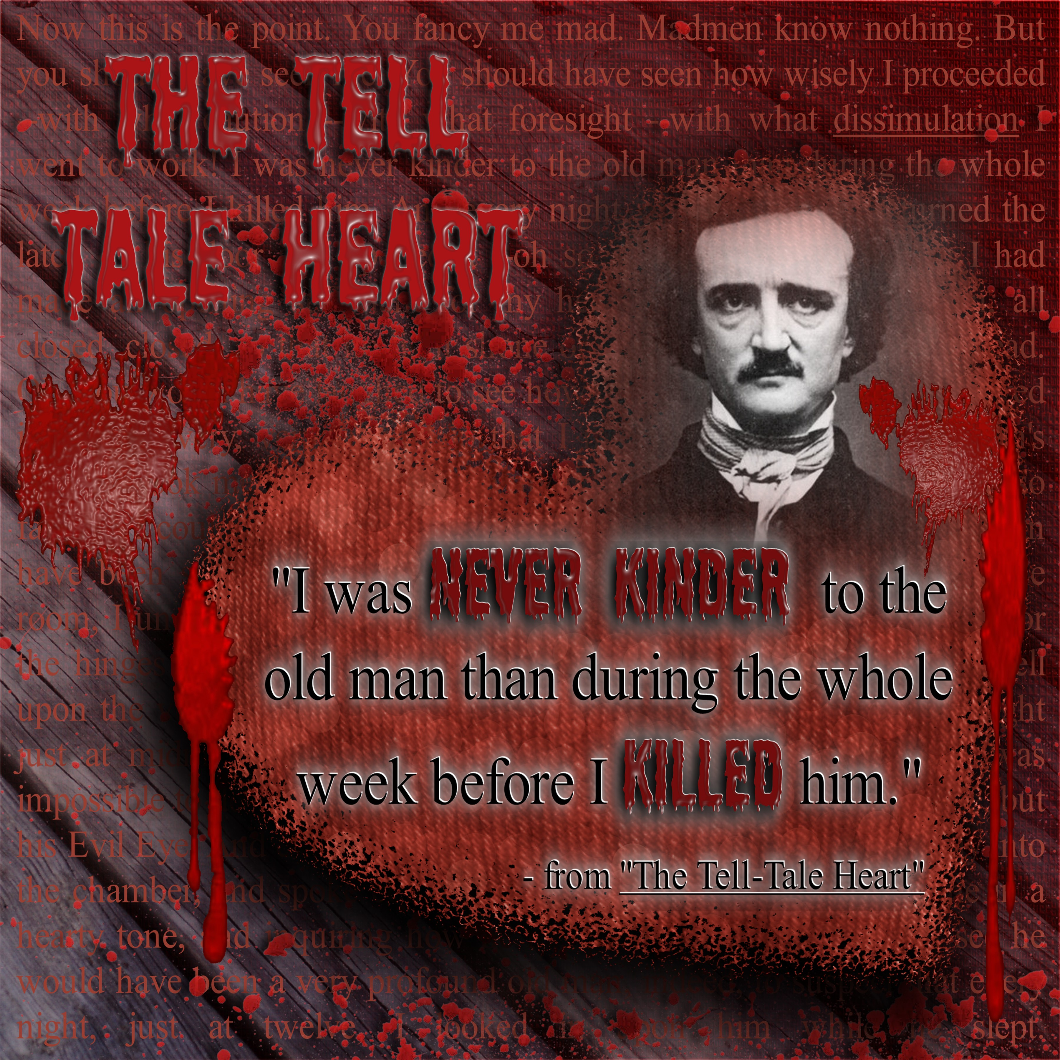 a brief analysis of the tell tale heart by edgar allan poe While they are all shooting the breeze, the narrator starts hearing a terrible ticking noise, which gets louder and louder until the narrator freaks out, confesses, and points the police to the old man's body, stating that the sound is coming from the old man's heart.