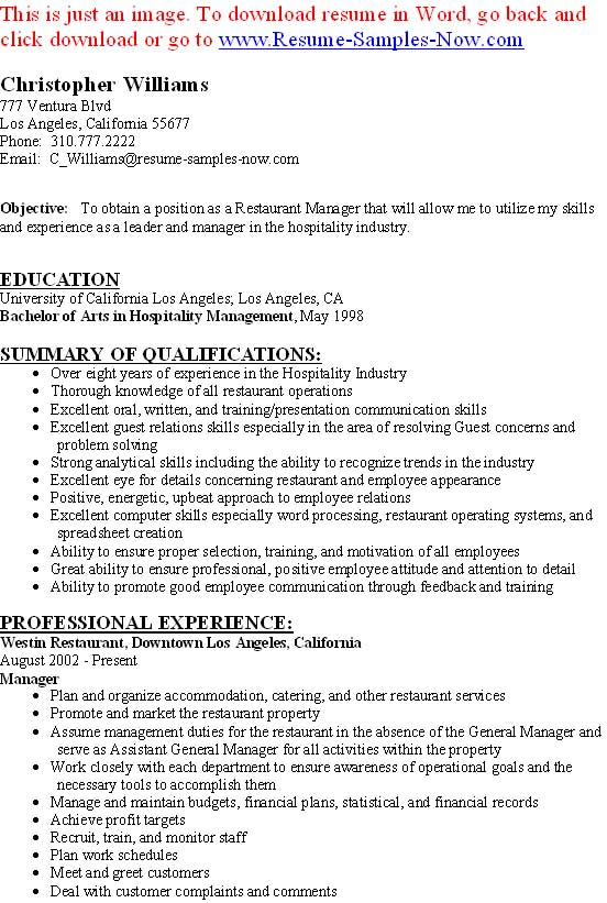 Restaurant management quotes quotesgram for Resume templates for restaurant managers