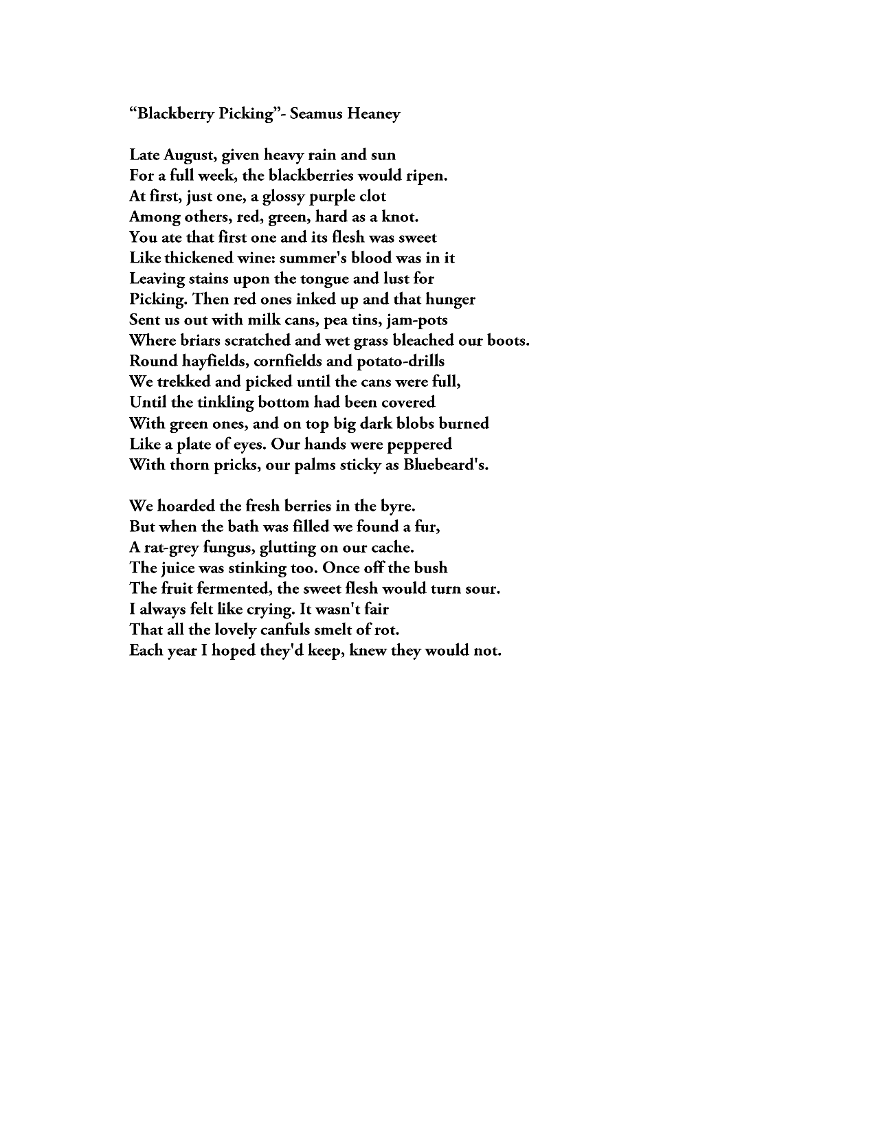 blackberry picking by seamus heaney essay  blackberry picking by seamus heaney essay