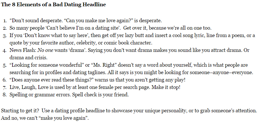 Headline profile dating examples