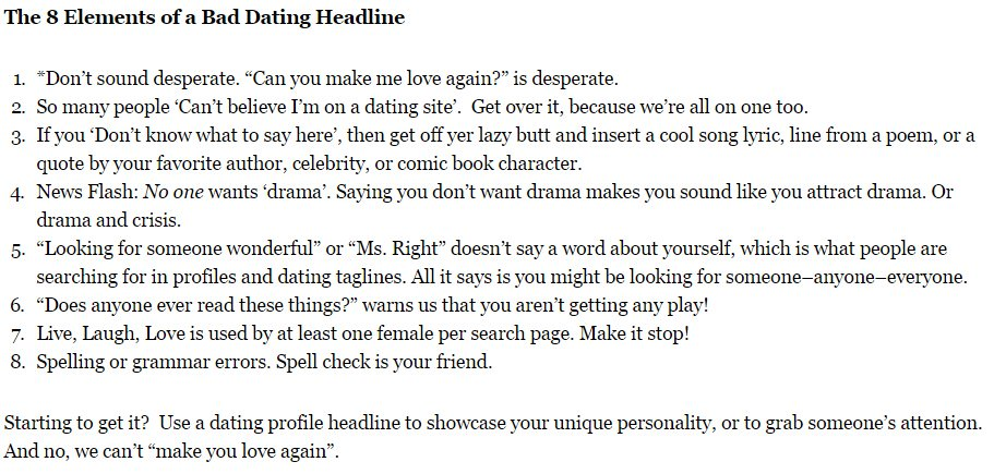 Examples Of Catchy Headlines For Online Dating