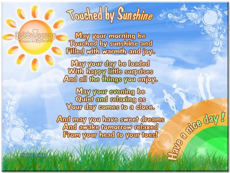 Good Morning Sunshine Jack Grunsky : Sunshine quotes and poems quotesgram