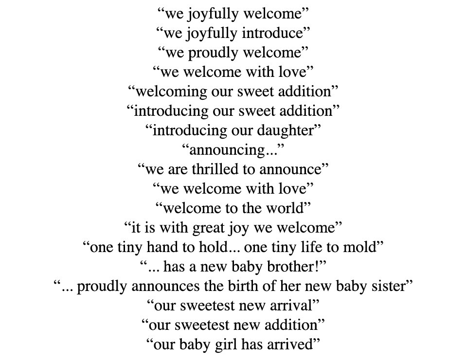 Baby Announcement Quotes QuotesGram – Baby Birth Announcement Quotes