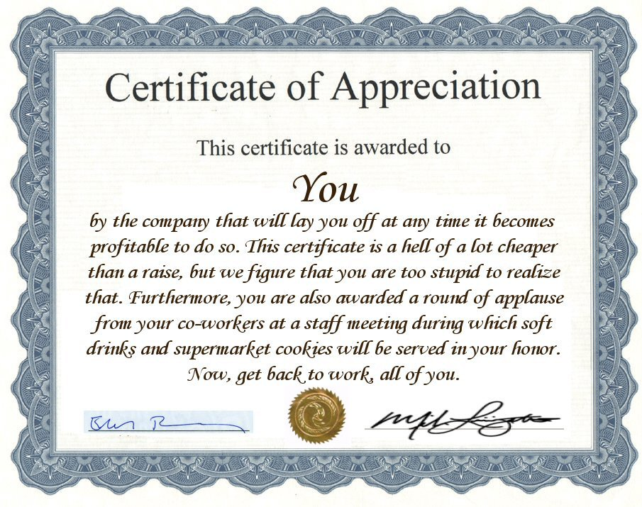 Funny employee recognition quotes quotesgram for Funny certificates for employees templates