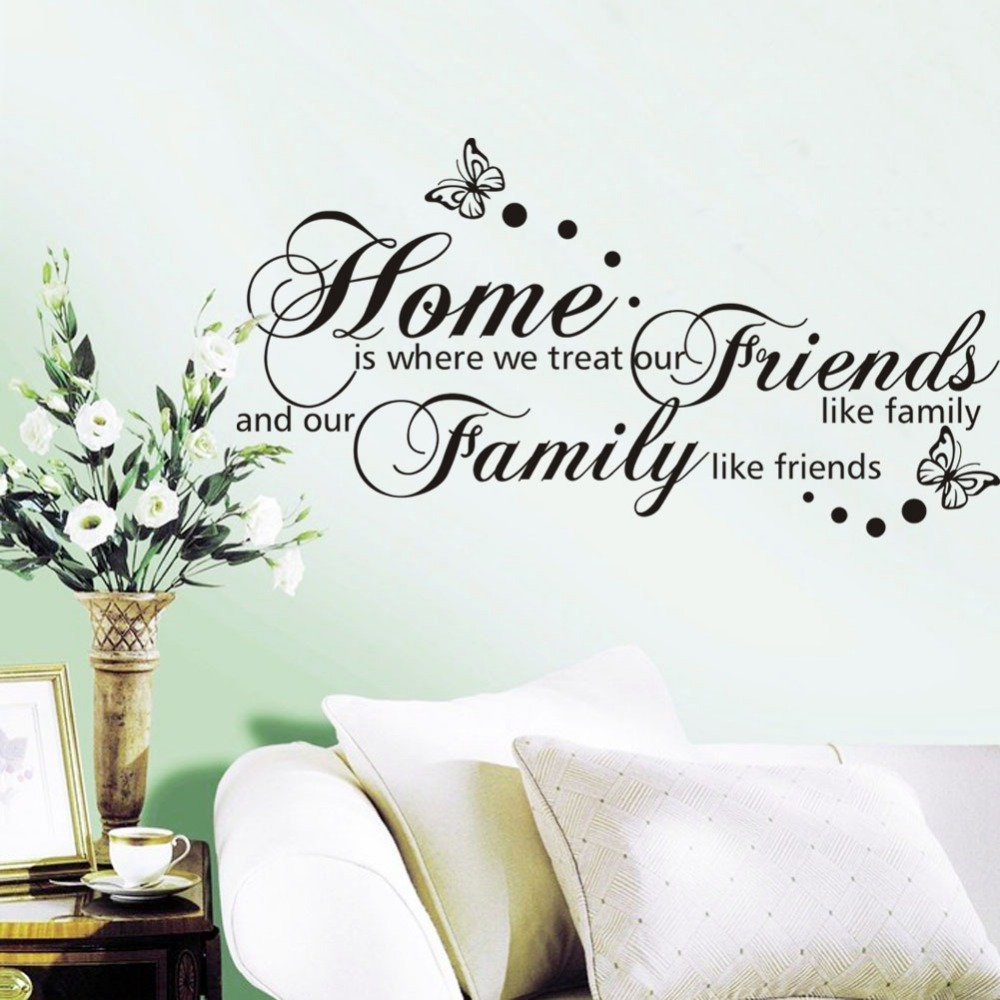 wall quote quotes decor friends english decorative stickers room butterfly proverbs treat living decals cm decal poster mural shipping quotesgram