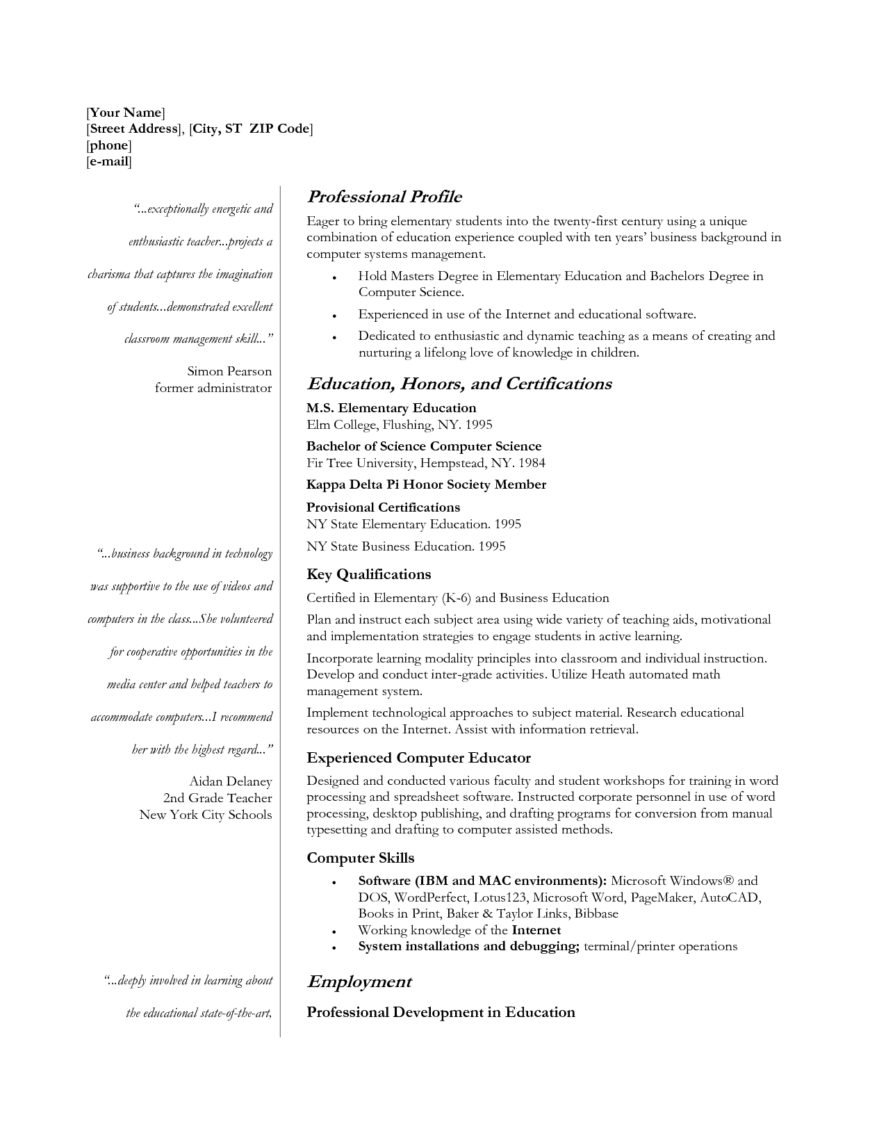 resume templates with quotes quotesgram