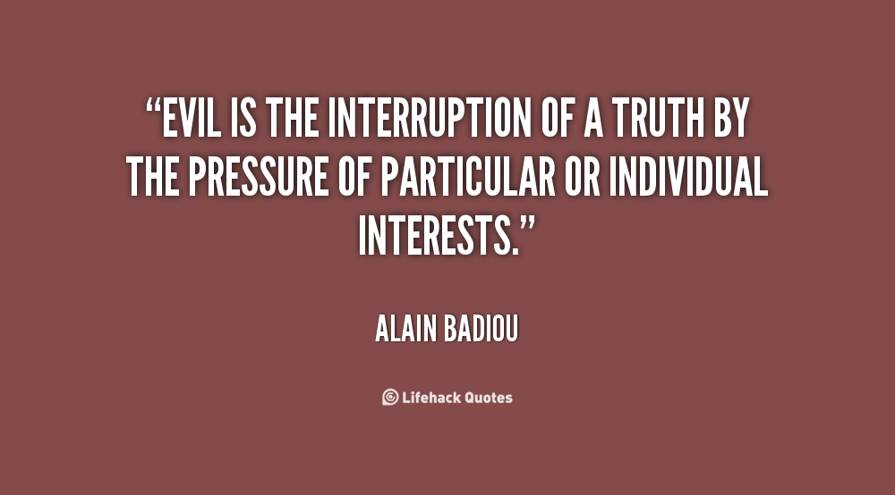 Badiou an essay on the understanding of evil