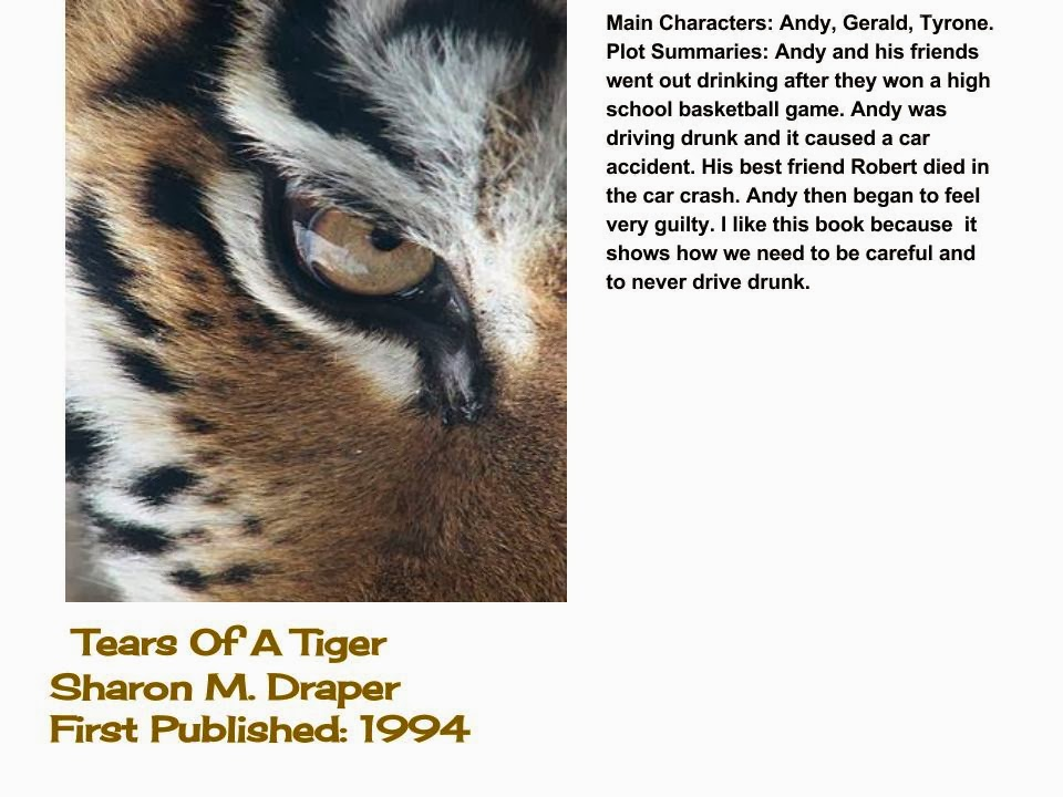 tears of a tiger quotes from the book Vocabulary in tears of a tiger  [click for more samples] — sample from book so then i'd tell you about the other alternatives to help eliminate the pain.