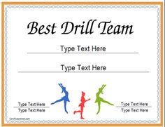Drill team competition quotes quotesgram for Team certificate template