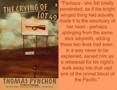 crying of lot 49 Oedipa's novel, the crying of lot 49, would be published in full in march 1966  where would postmodern literature be without her where.