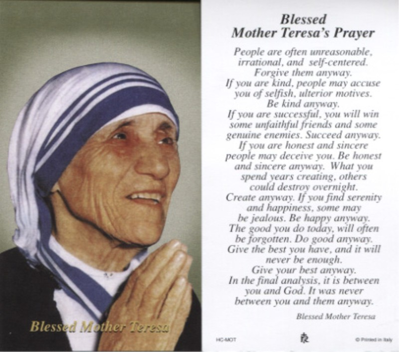 Prayer Mother Teresa Quotes Quotesgram