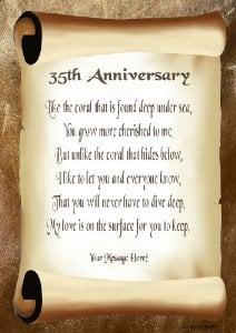 35th Wedding Anniversary Gift Husband : 35th Wedding Anniversary Quotes. QuotesGram