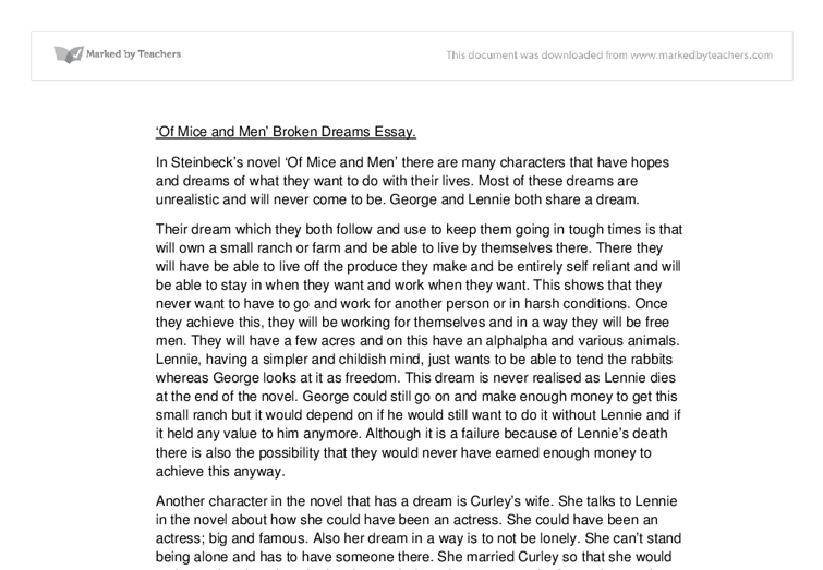 of mice and men written essay - of mice and men by john steinbeck the title of the book i am writing about is 'of mice and men' and is written by john steinbeck this book is set in western america in the sub urban areas the book is set in 1937.