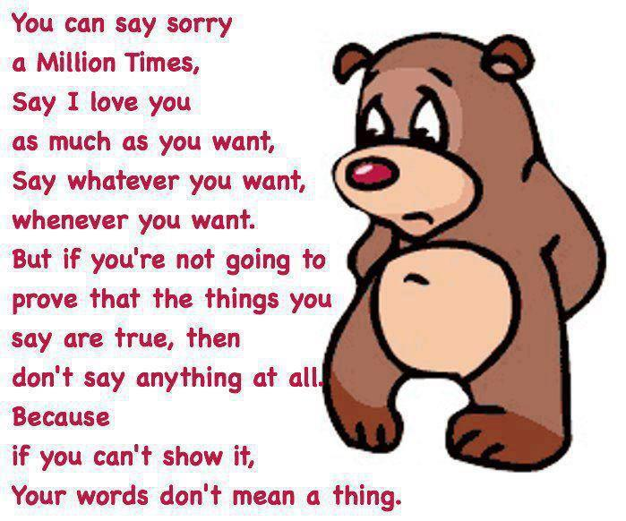 Saying sorry to gf