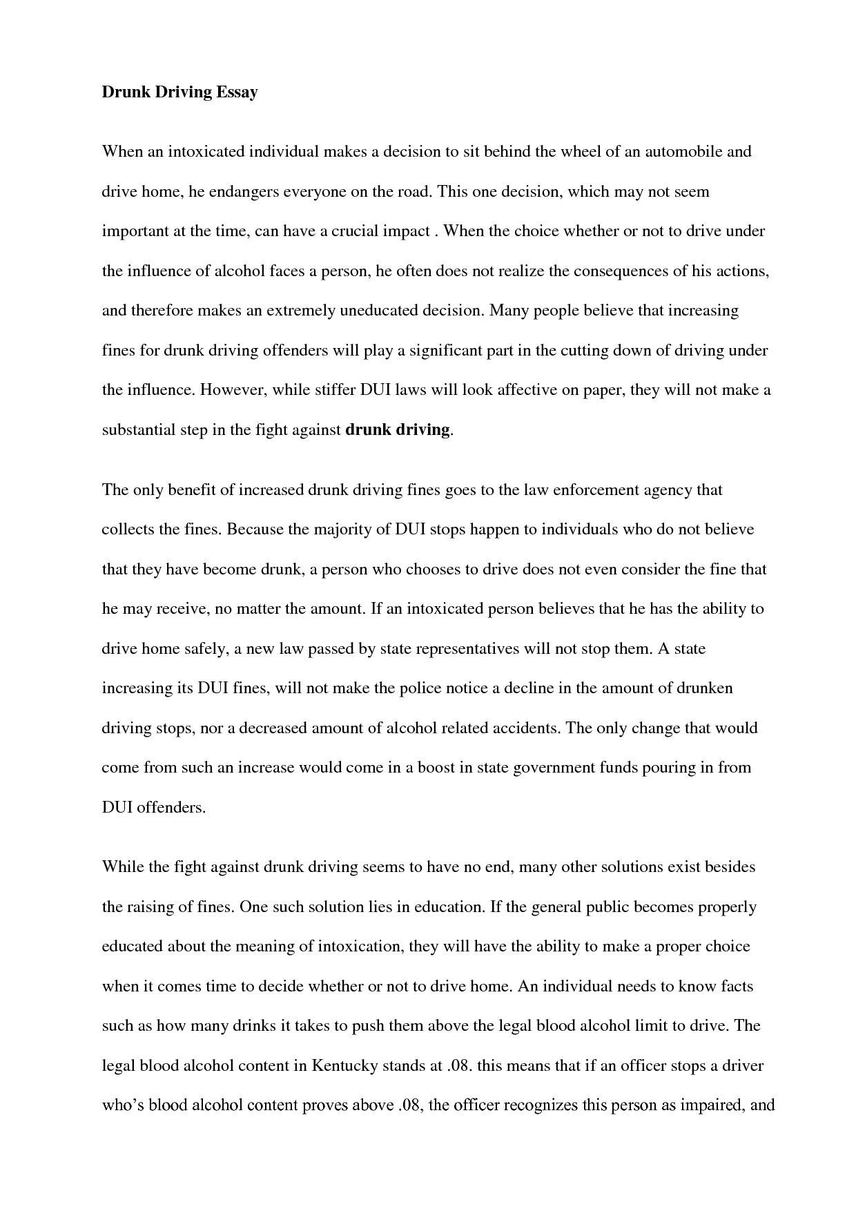 essay about drunk driving