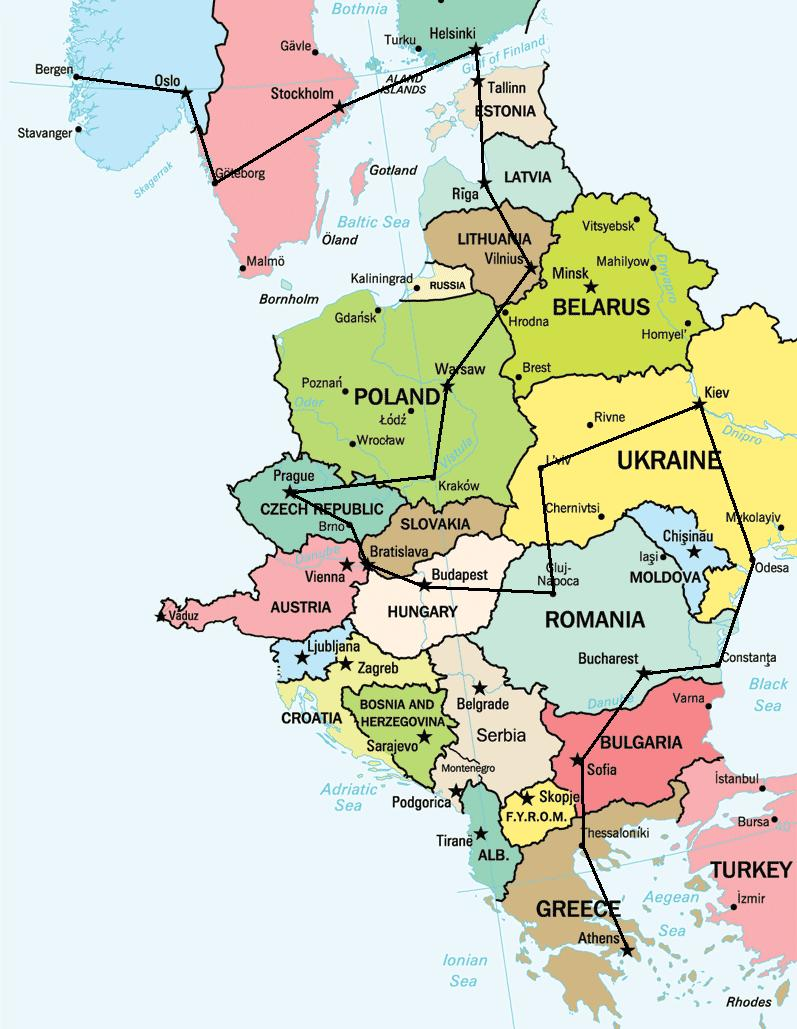 Eastern Europe Travel Route