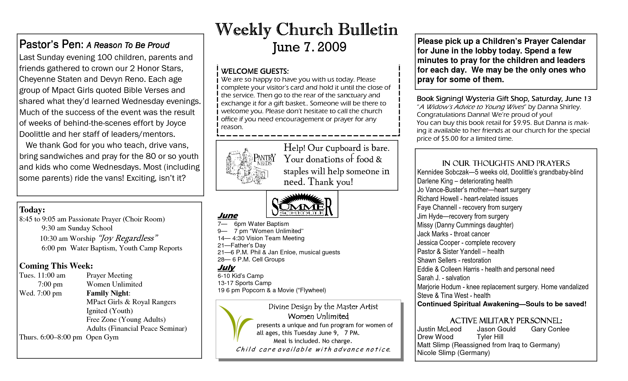Baptist church bulletins for quotes quotesgram for Sample church bulletins templates