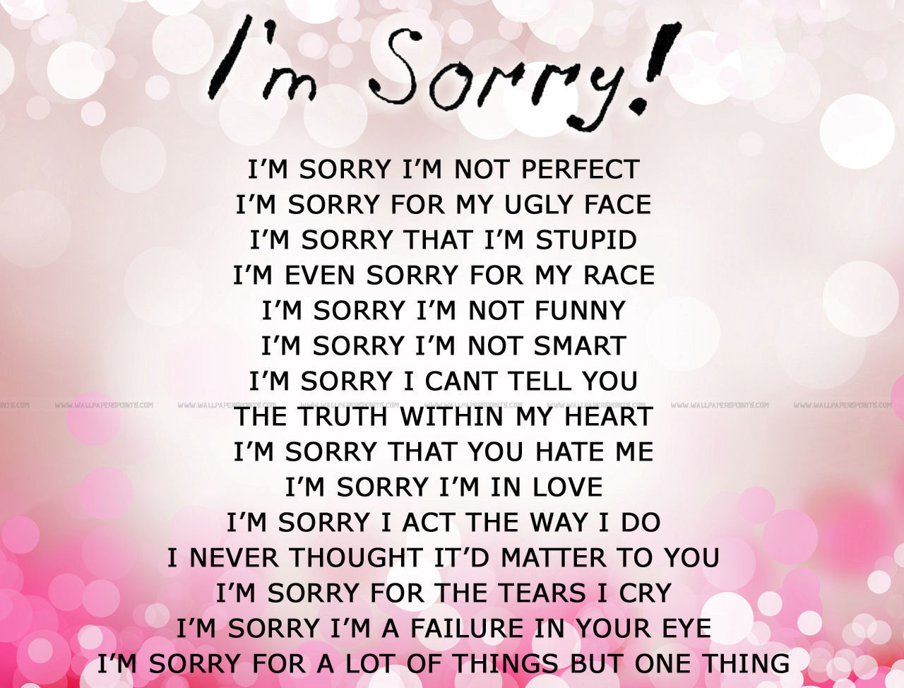 Of regret apology poems and I'm Sorry