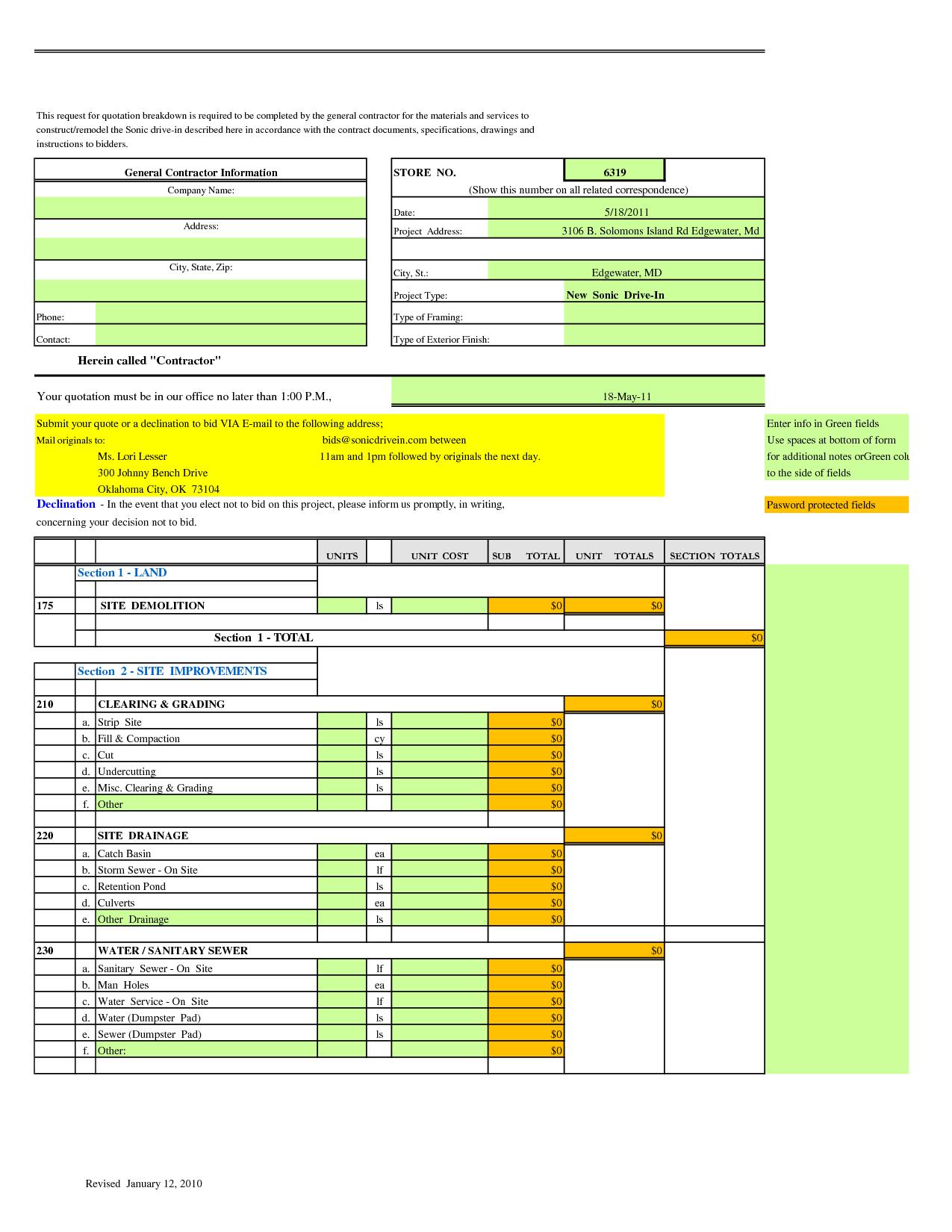 Kitchen Remodel Estimate Template. Bathroom Remodel Checklist ...