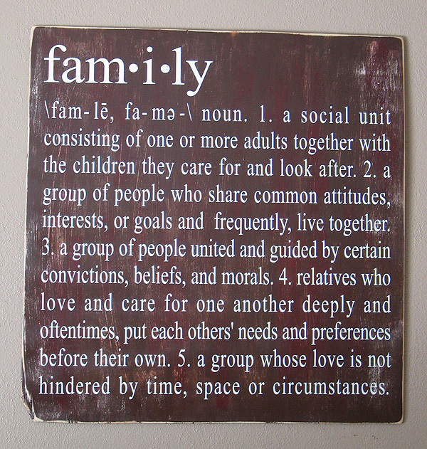 definition of a family Definition of family - a group consisting of two parents and their children living  together as a unit, all the descendants of a common ancestor, a group.