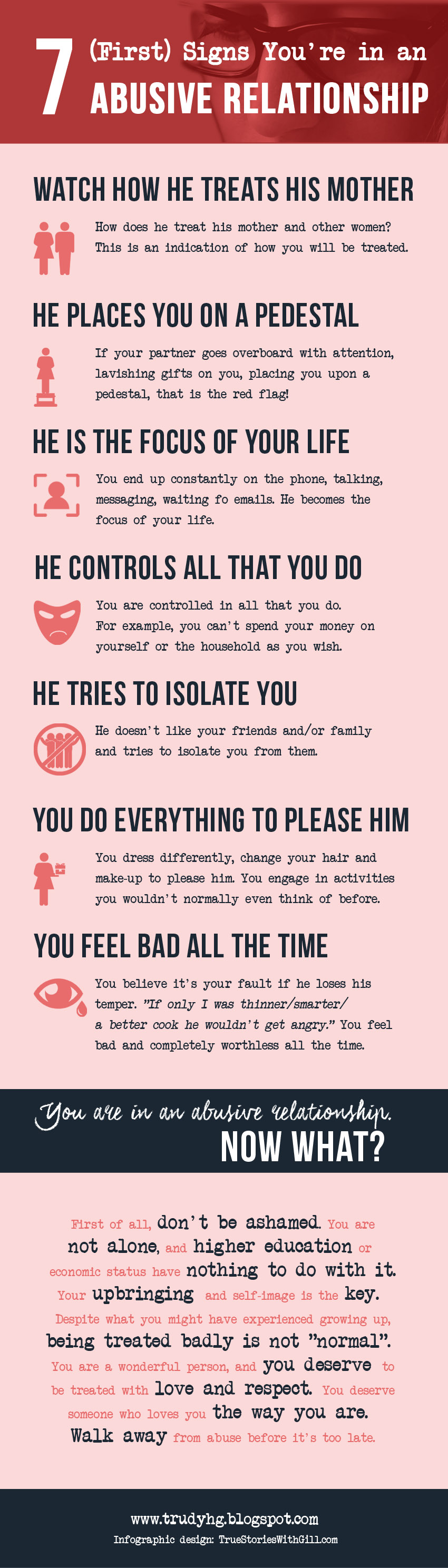 indicators of an abusive relationship Red flags for domestic abuse does your partner: expect you to spend all of your time with him or to check in with and let him know where you are.
