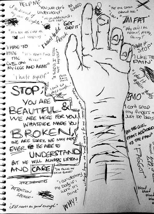 quotes self harm drawing  quotesgram