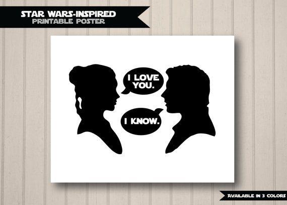 I Know/'  2 Minimalist Star Wars Posters HAN SOLO /& PRINCESS LEIA /' I Love you