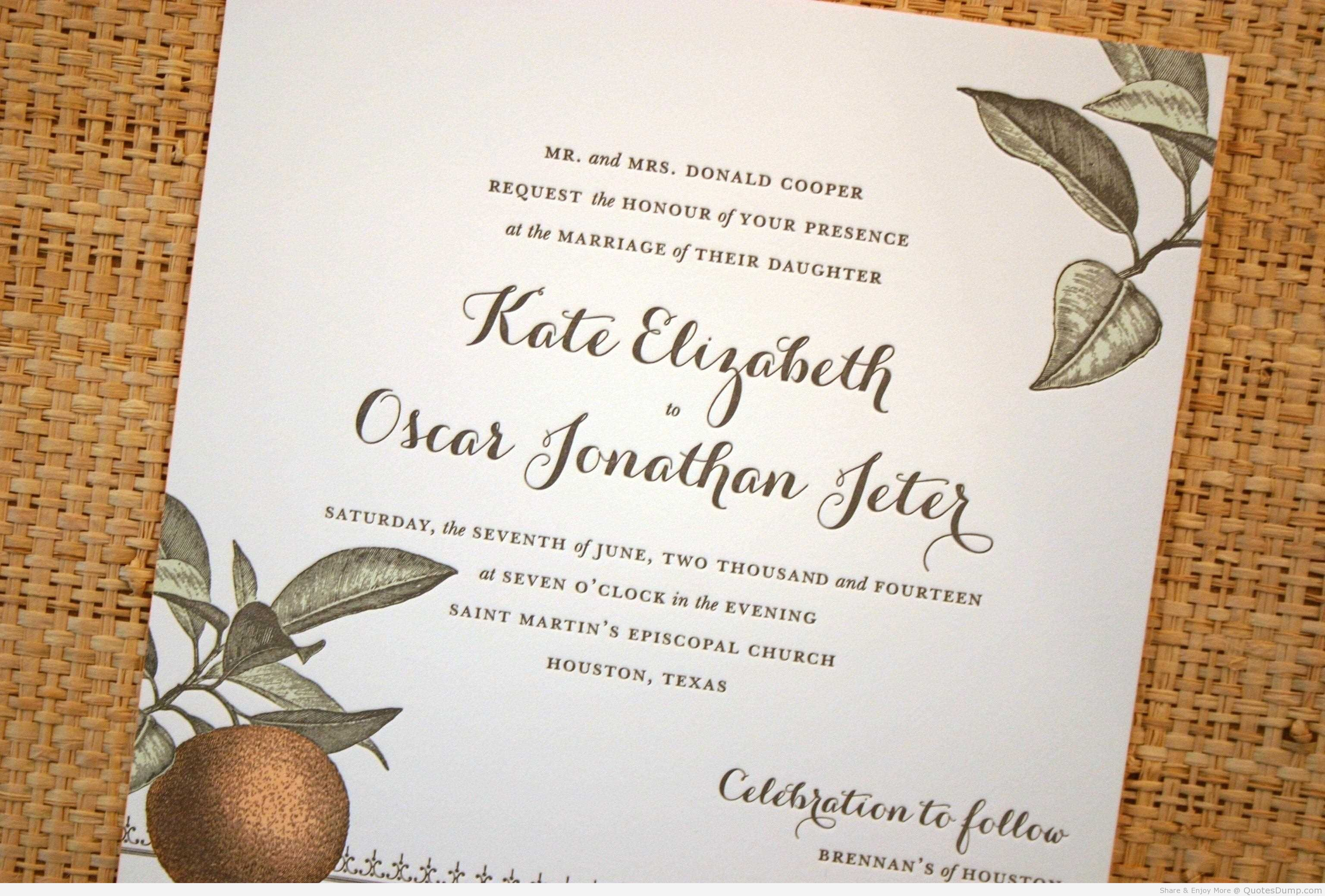 Wedding Invitation Lines: Famous Quotes For Wedding Invitations. QuotesGram