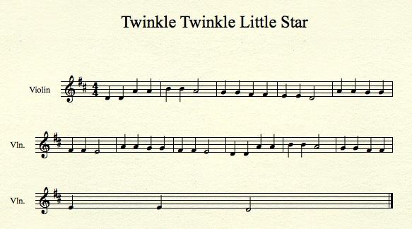 Twinkle Twinkle Little Star Violin Sheet Music Suzuki