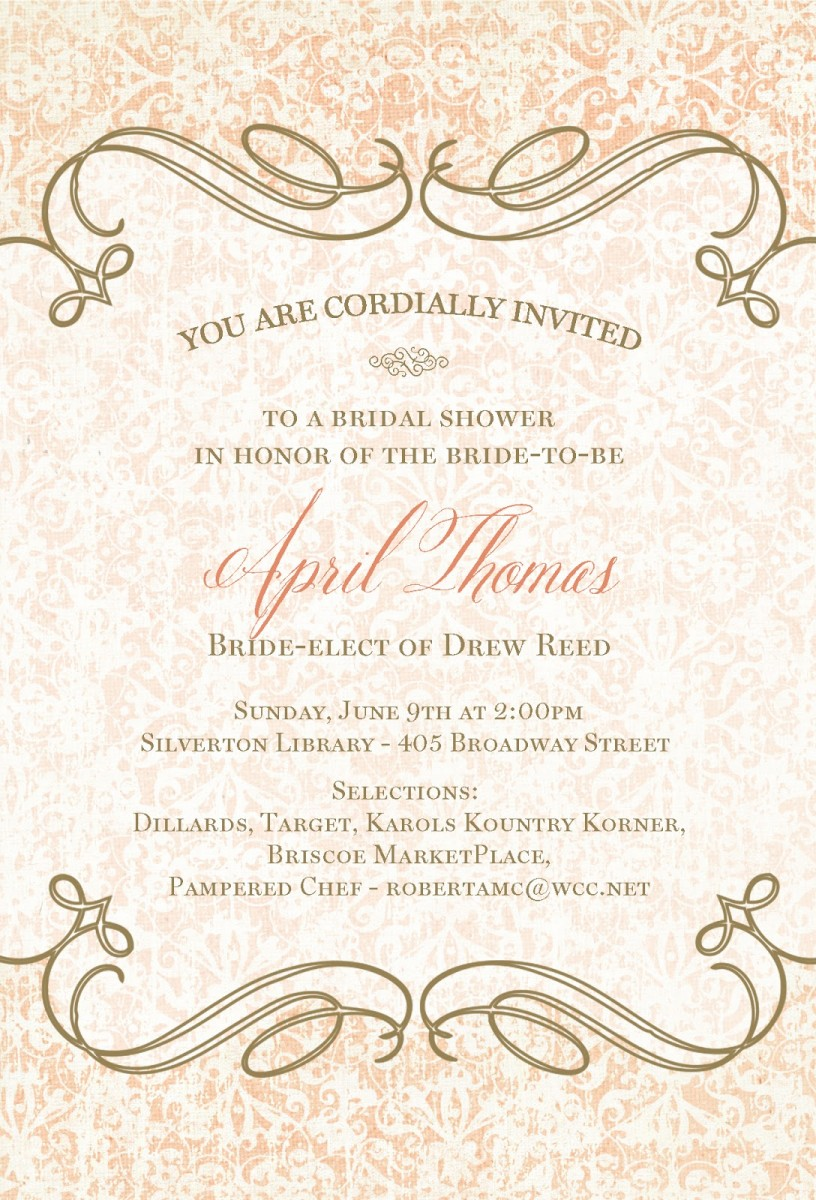 Quotes for bridal shower invitations quotesgram for Wedding shower announcements