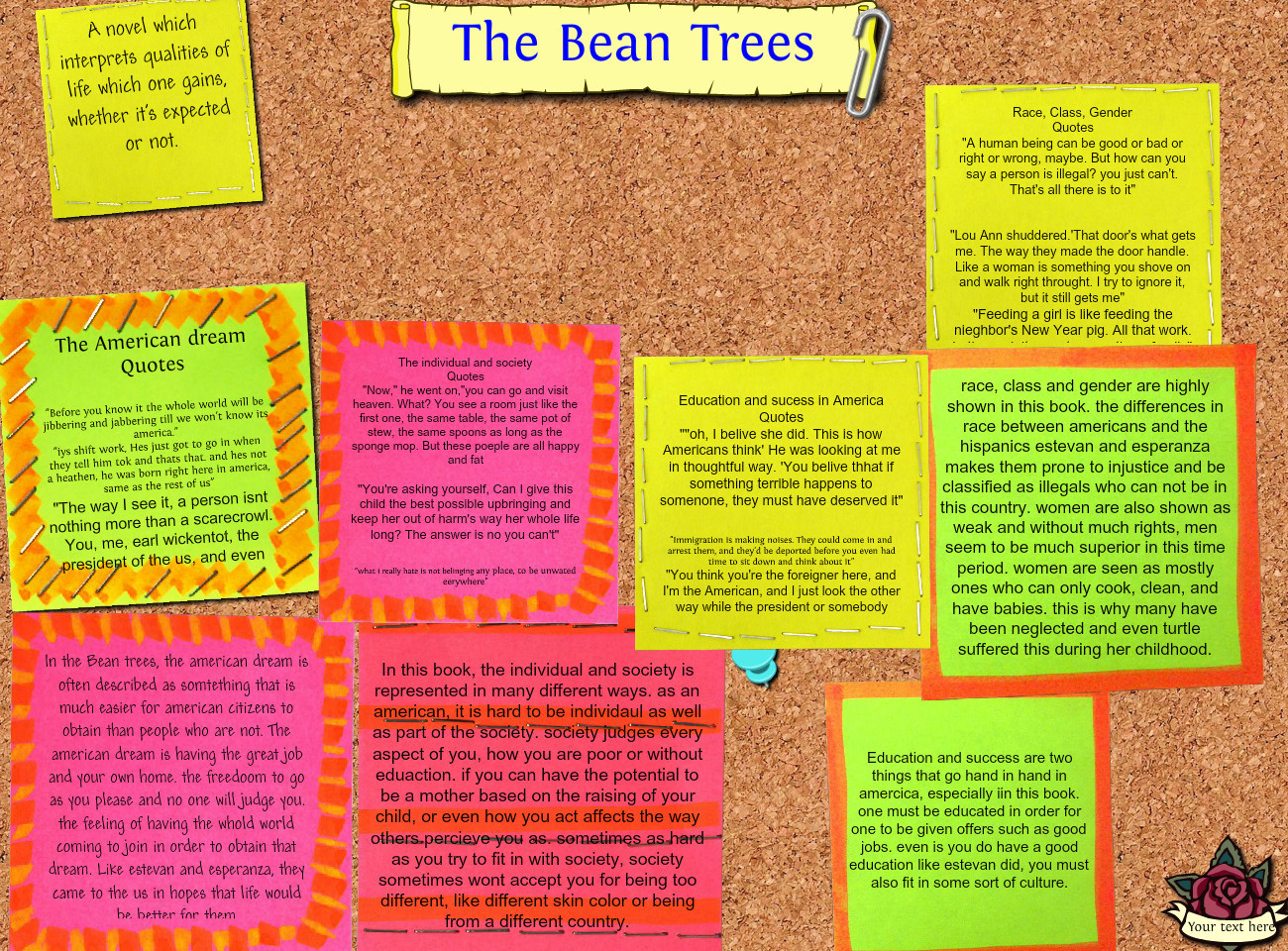 the bean trees A description of tropes appearing in bean trees a novel by barbara kingsolver about a small town girl named taylor greer who decides to drive her car as far.