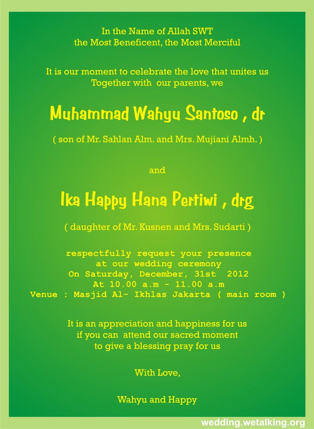 Islamic Marriage Quotes For Invitations QuotesGram
