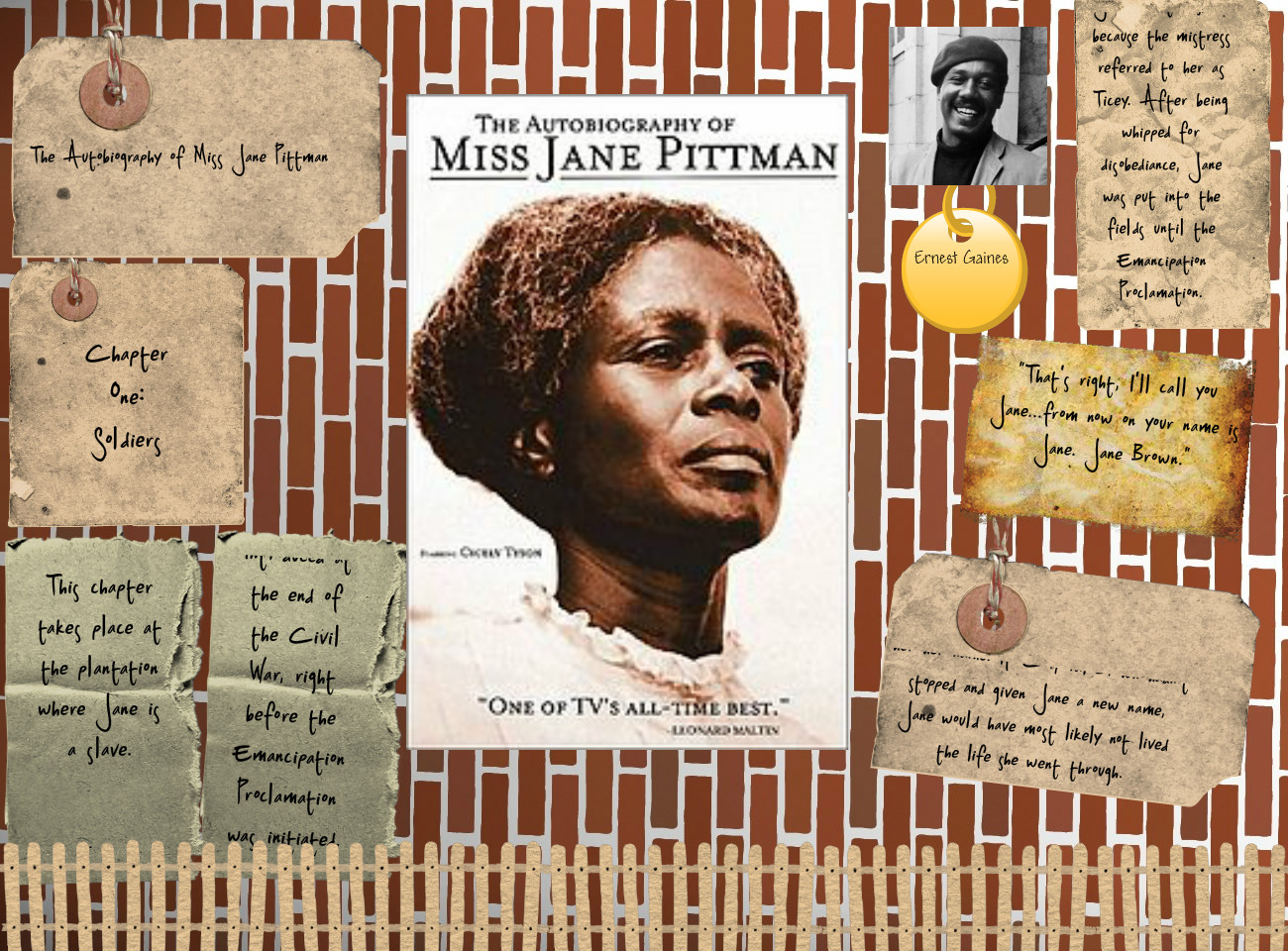 the life of jane pittman The autobiography of miss jane pittman is a 1971 novel by ernest j gainesthe story depicts the struggles of african americans as seen through the eyes of the narrator, a woman named jane pittman.