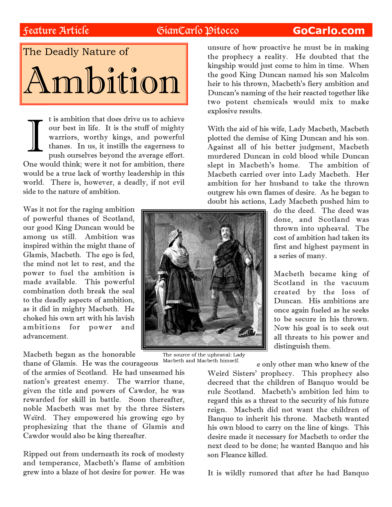 a comparison of the ambition action and destruction of macbeth and lady macbeth