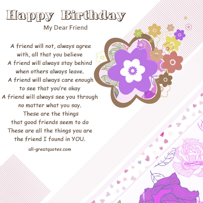 Dear Friend Birthday Quotes. QuotesGram