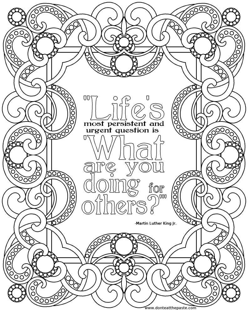 Inspirational Quotes Coloring Pages Printable