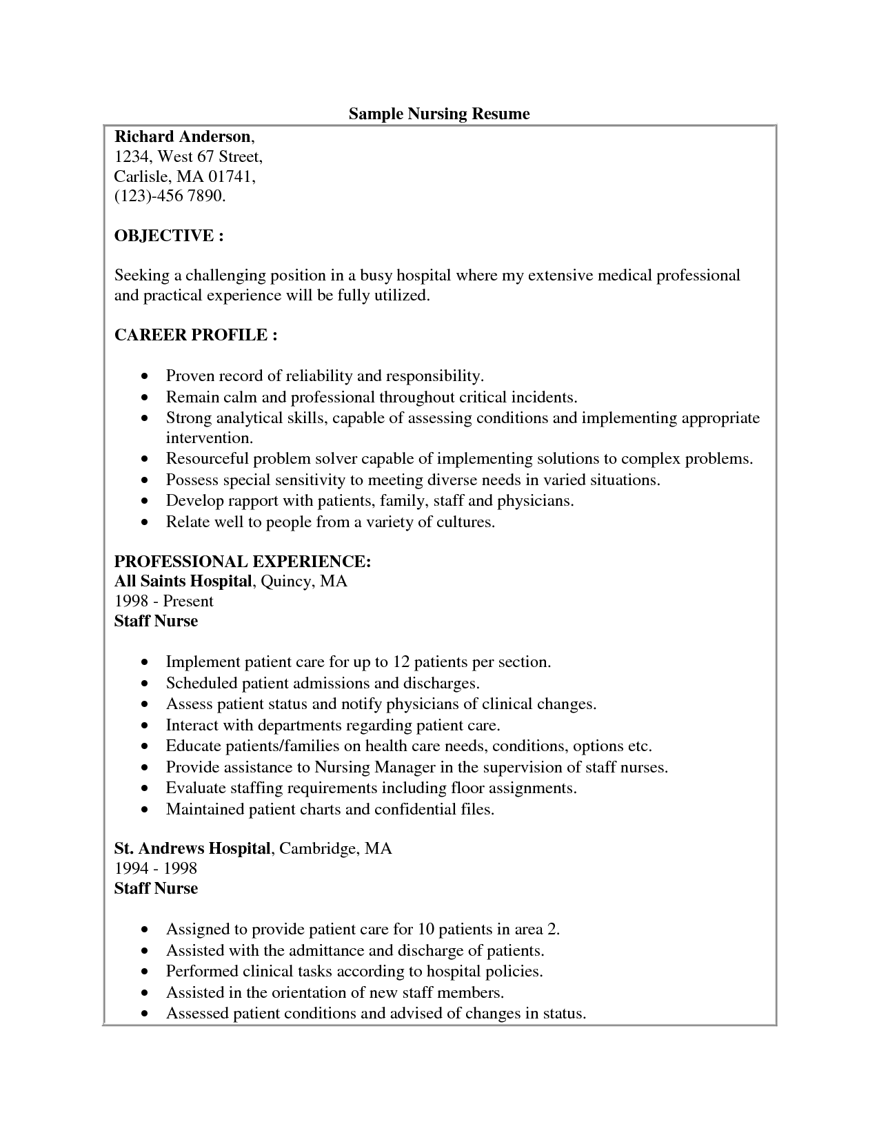 sample resume for rn resume cv cover letter