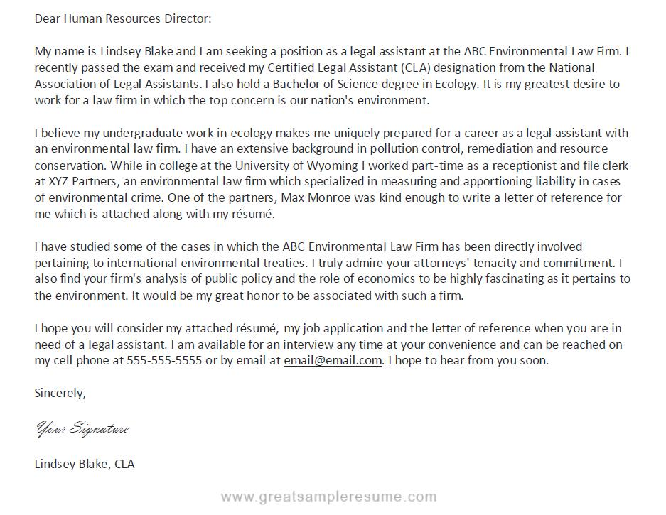 legal assistant cover letter legal assistant cover letter