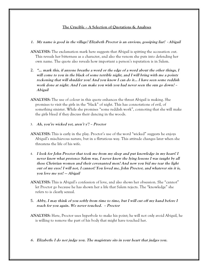 crucible character analyses of abigail williams Character analysis abigail williams bookmark this page manage my reading list she bears most of the responsibility for the girls meeting with tituba in the woods, and once parris discovers.