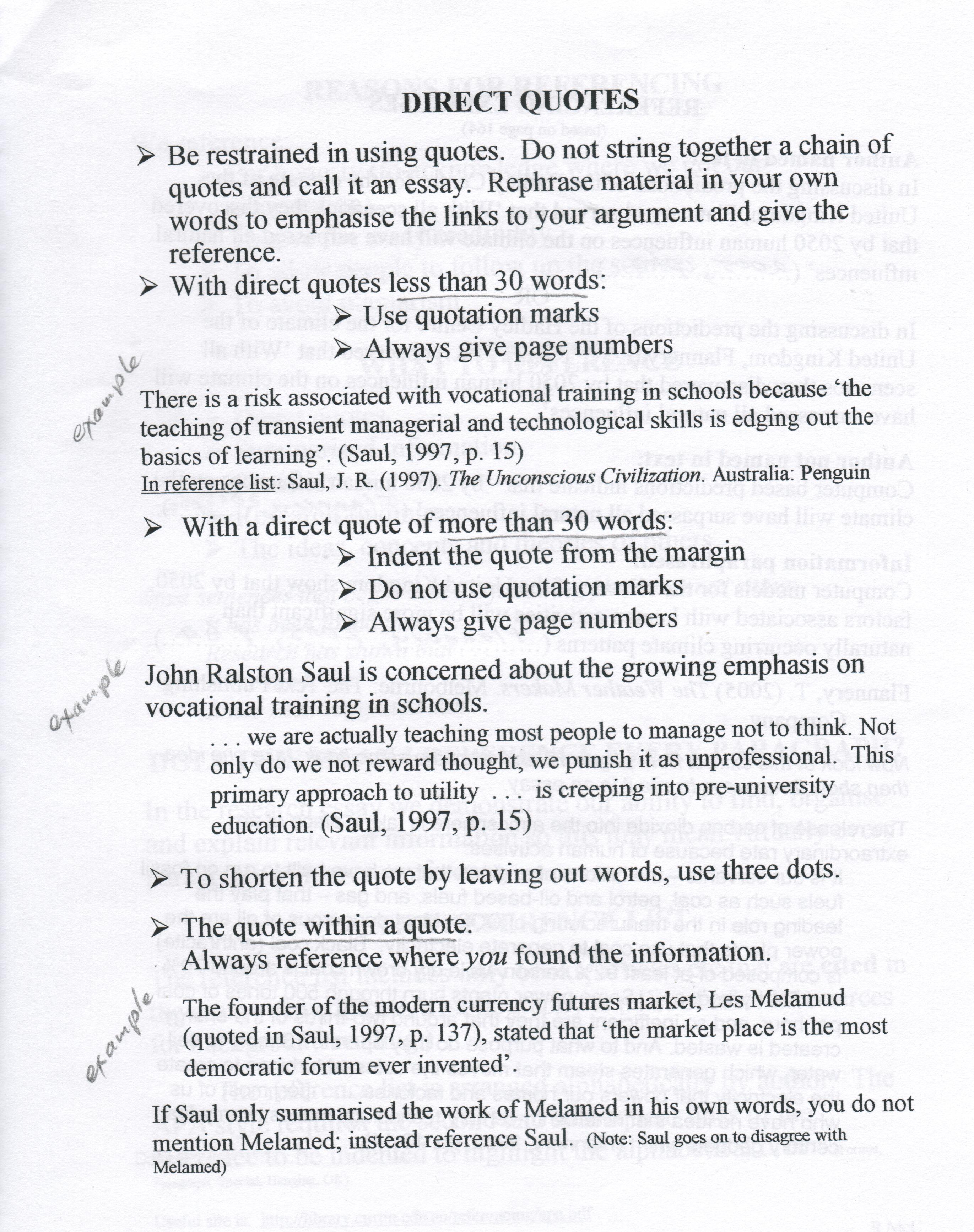 direct quotes in essays  quotesgram