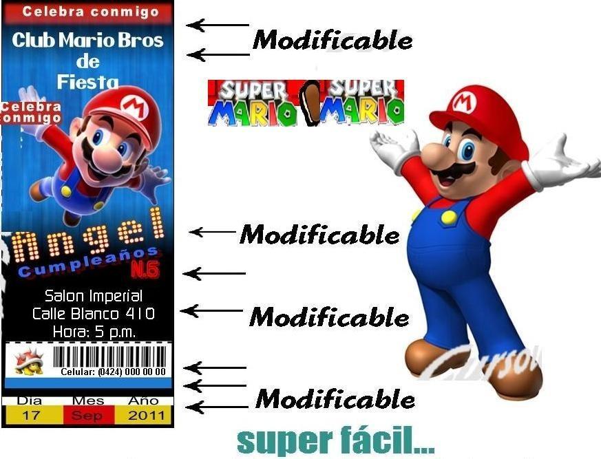 Tarjetas De Invitacion De Mario Bros