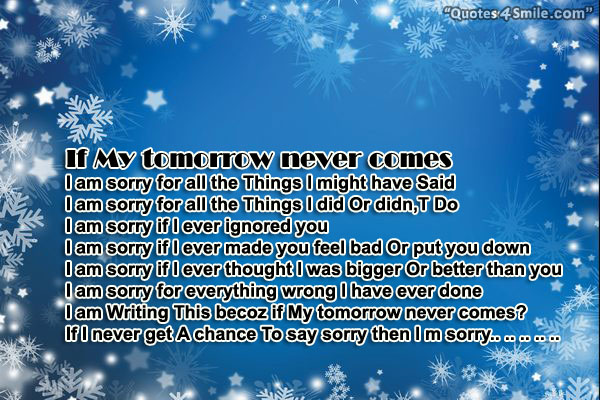 Tomorrow Is A New Day Quotes Quotesgram: If Tomorrow Never Comes Quotes. QuotesGram