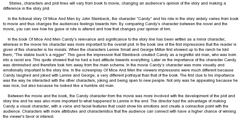 of mice and men candy character analysis essay